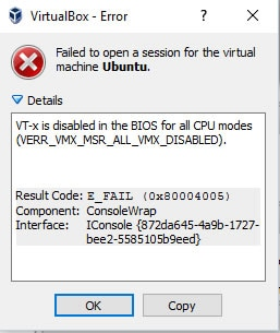 VT-x is disabled in Virtual Box